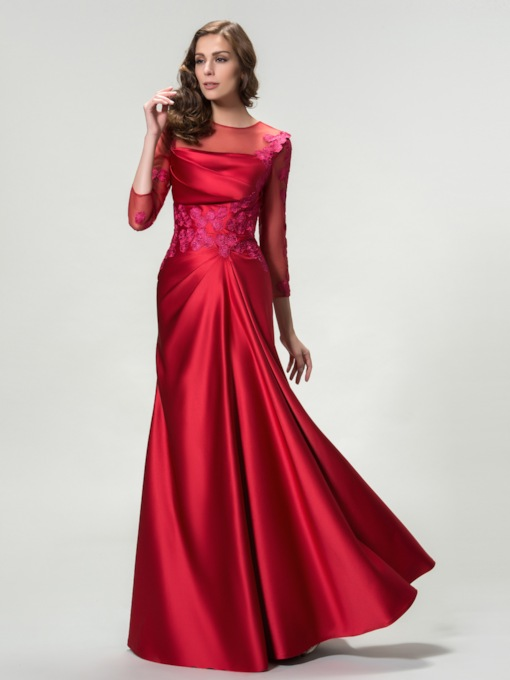 3/4 Length Sleeves Appliques Evening Dress