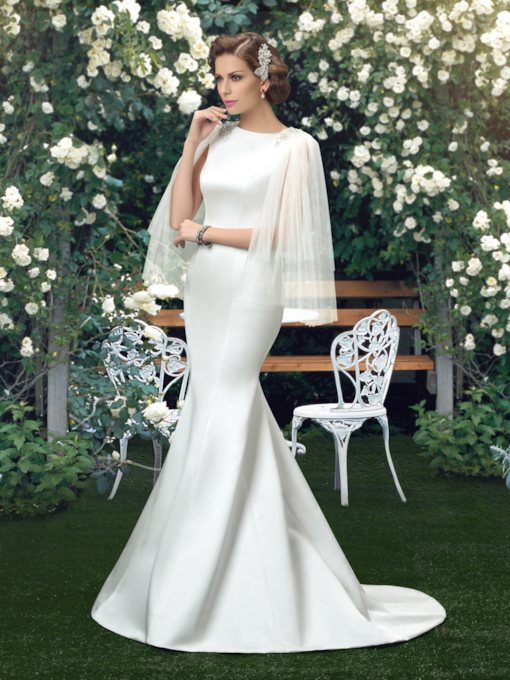 Bateau Neck Beading Mermaid Wedding Dress