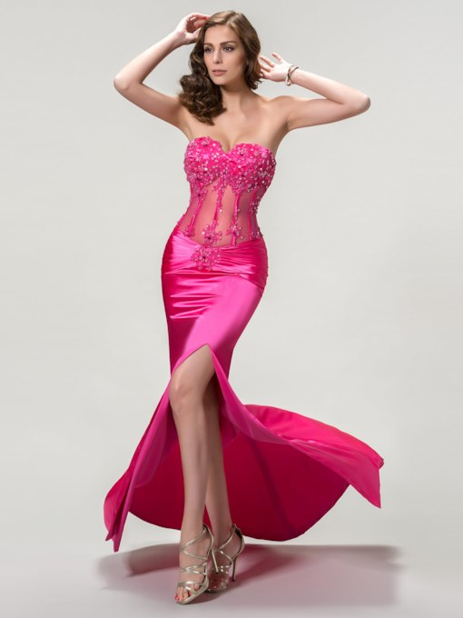 Strapless Sweetheart Mermaid Zipper-Up Evening Dress