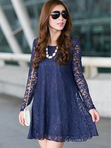 Loose Patchwork A-Line See-Though Women's Lace Dress