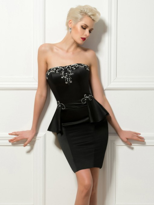 Strapless Beading Ruffles Black Cocktail Dress