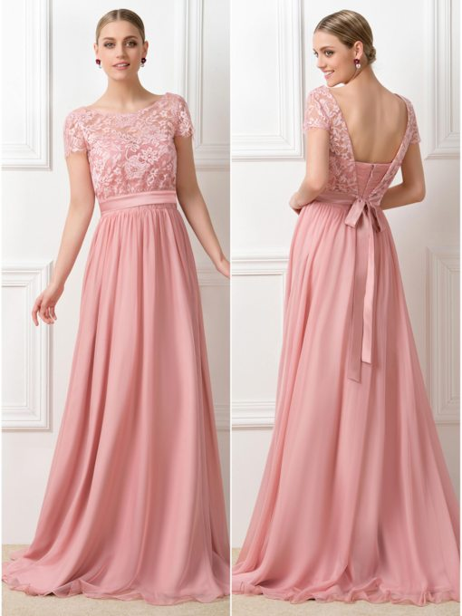 Lace Short Sleeves Long Bridesmaid Dress