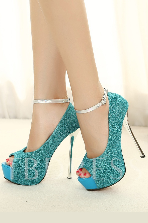 Studded Peep-Toe Ankle Strap Prom Shoes