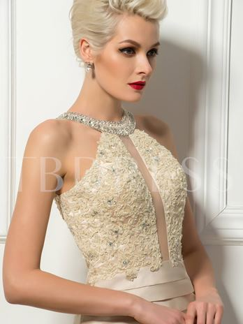 Scoop Appliques Beading Ruched Sheath Cocktail Dress