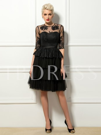 A-Line Jewel Neck Lace Cocktail Dress