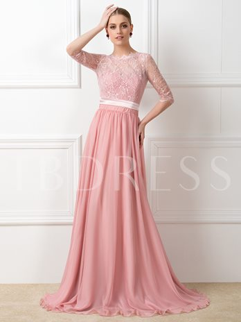 Lace Sweep-Train Half Sleeves Bridesmaid Dress
