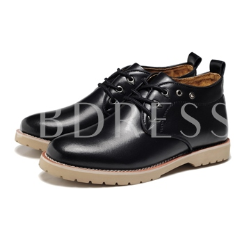 PU Plain-Toe Lace-Up Ankle Boots