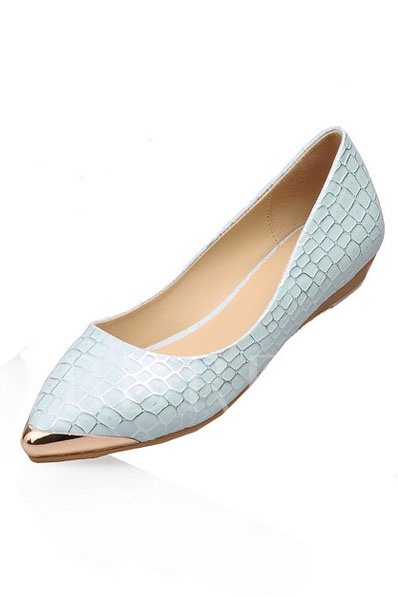 Glitter Embossed Metallic Point Toe Women's Flats