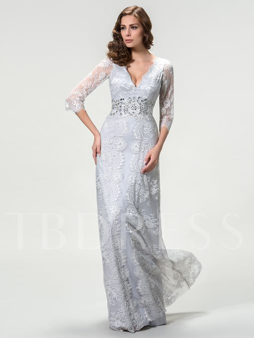 V-Neck 3/4 Sleeves Lace Beading Mother of the Bride Dress