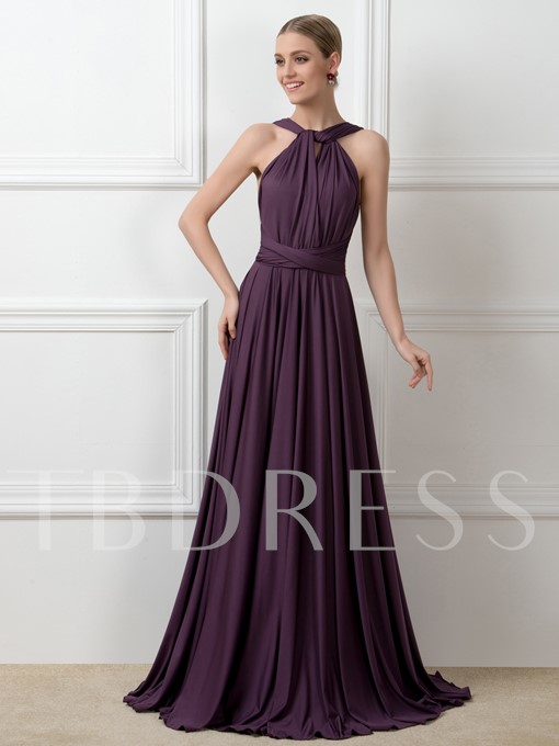 Convertible Ruched A-Line Long Bridesmaid Dress