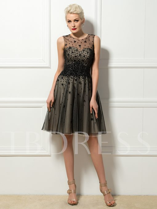 Tulle Neck Sequins Beading A-Line Short Cocktail Dress