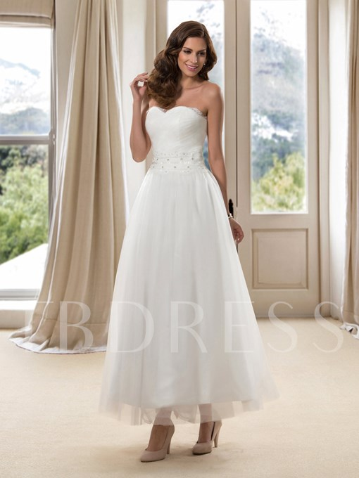 Sweetheart Ankle-Length Beach Wedding Dress