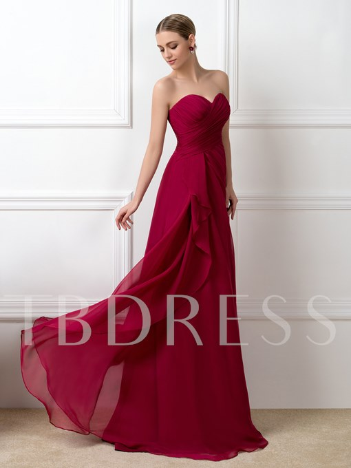 A-Line Zipper-Up Ruched Bridesmaid Dress