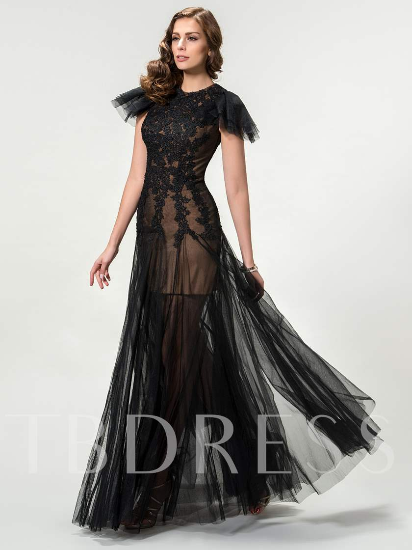 Lace Column Short Sleeves Zipper-Up Evening Dress