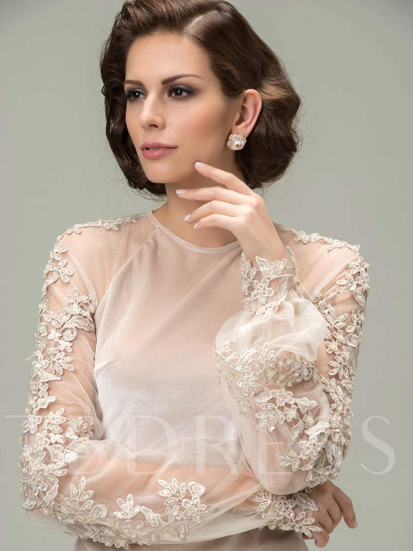 Jewel Appliques Long Sleeves Short Mother of the Bride Dress