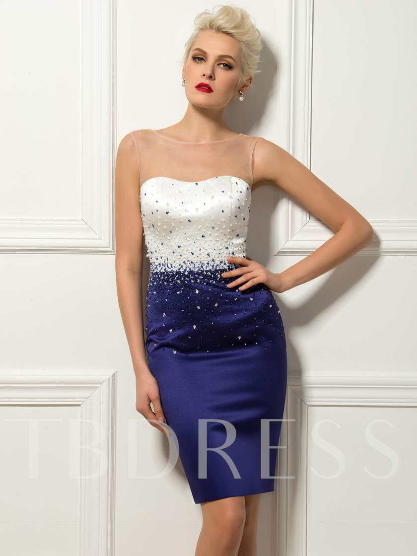 Sheath Bateau Neck Beadings Short Cocktail Dress