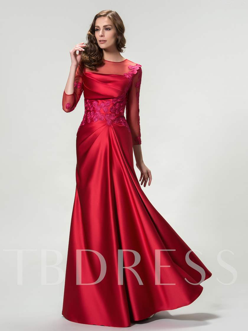 3/4 Length Sleeves Appliques Sheath Evening Dress
