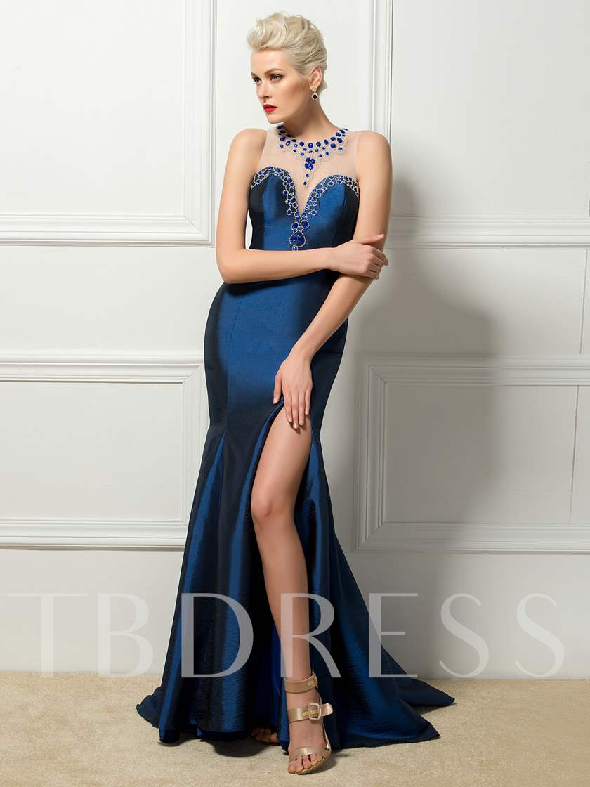 Scoop Rhinestone Mermaid Split-Front Evening Dress