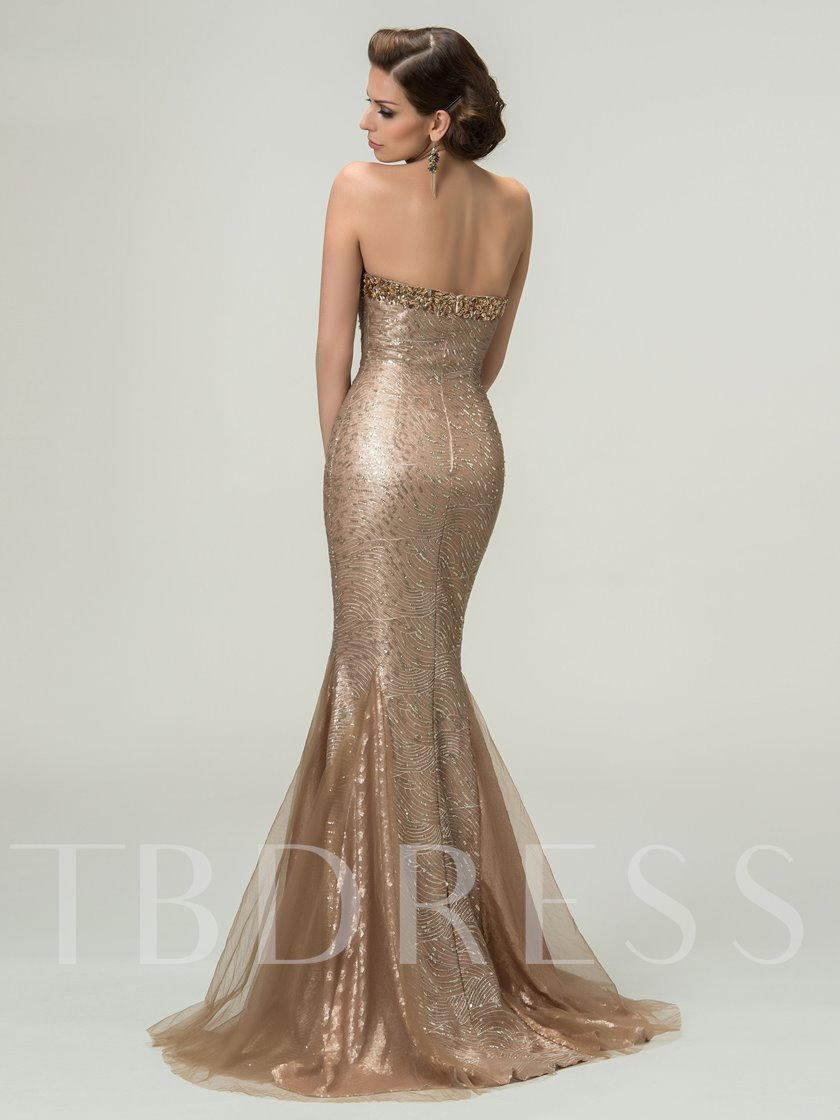 Sweetheart Trumpet Rhinestone Sequins Evening Dress