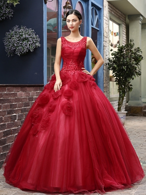 Tbdress Round Neck A-Line Flowers Quinceanera Dress