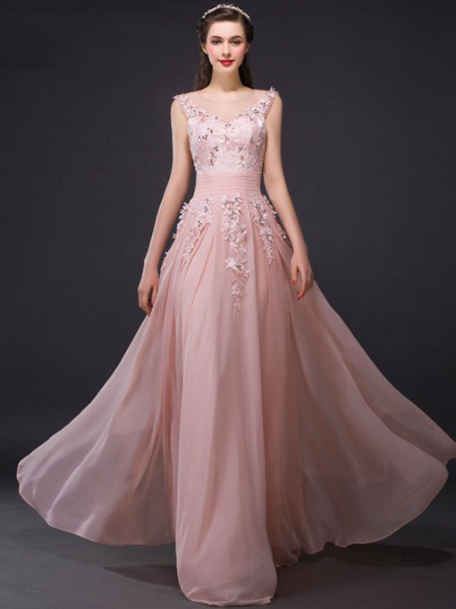 A-Line Floor-Length Appliques Evening Dress