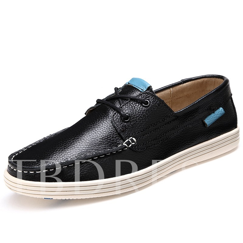 Solid Color Quilted Lace-Up Men's Flats