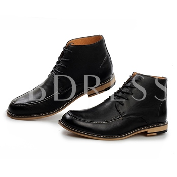 Square Heel Lace-Up Front Pointed Toe Ankle Men's Boots