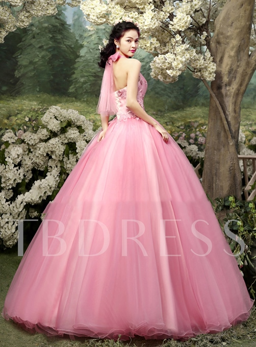 Tbdress Halter A-Line Flowers Appliques Quinceanera Dress