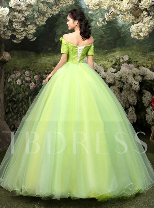 Tbdress Off-the-Shoulder A-Line Flowers Bowknot Quinceanera Dress