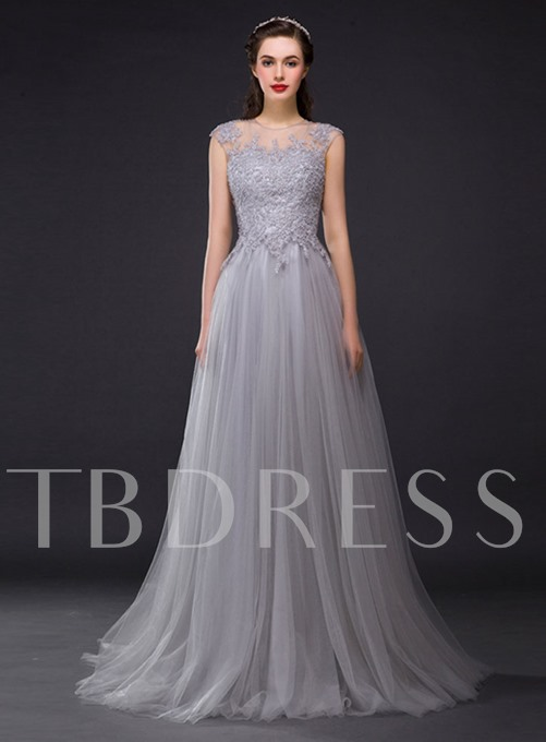 A-line Jewel Neck Pearl Sheer Back Long Evening Dress