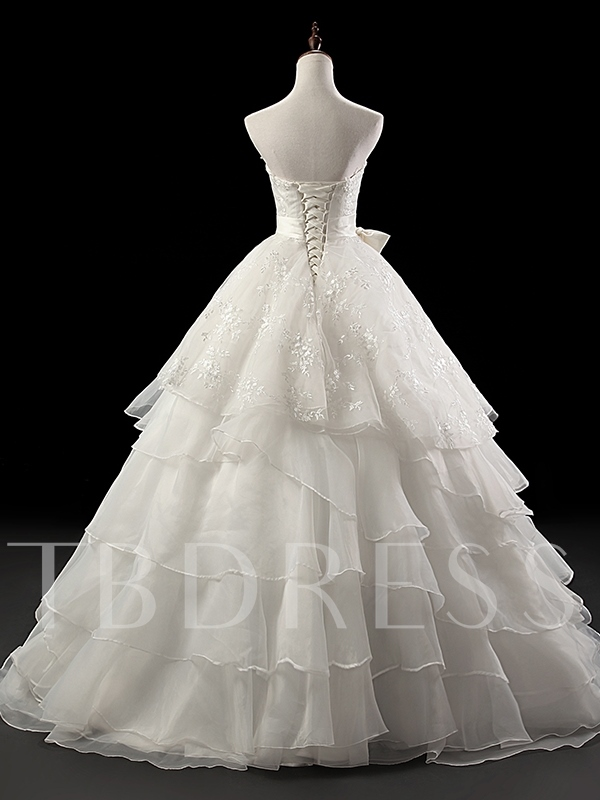 Strapless Lace Tiered Ball Gown Wedding Dress