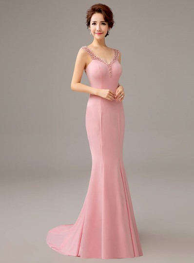 Straps Bowknot Pearls Mermaid Sweep Train Evening Dress