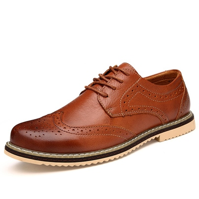 Bullock Carve Patterns Patent PU Brush-Off Men's Shoes