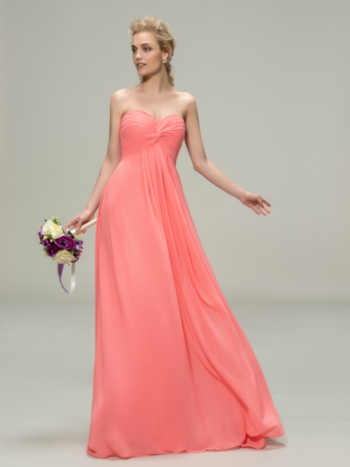 Pleats Empire Waist Chiffon Bridesmaid Dress