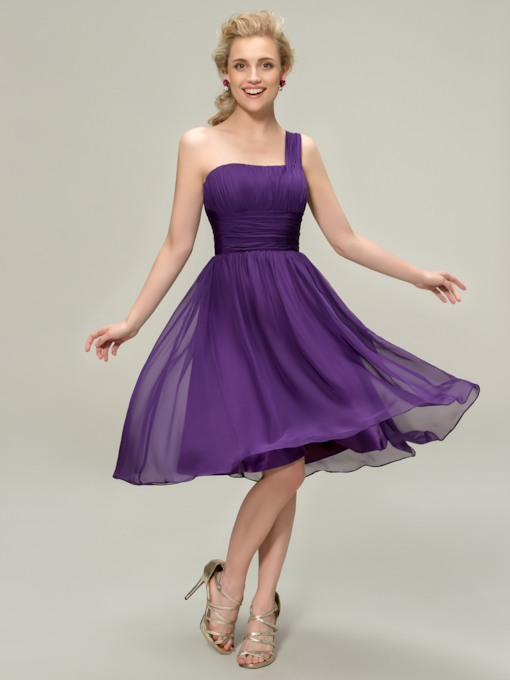 One Shoulder Pleats Knee-Length Bridesmaid Dress
