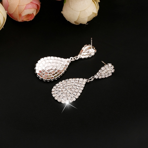 Water Drop Shaped Rhinestone Women's Earrings