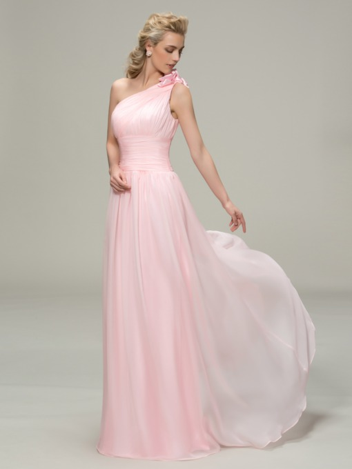 One Shoulder Flower Pleated Bridesmaid Dress