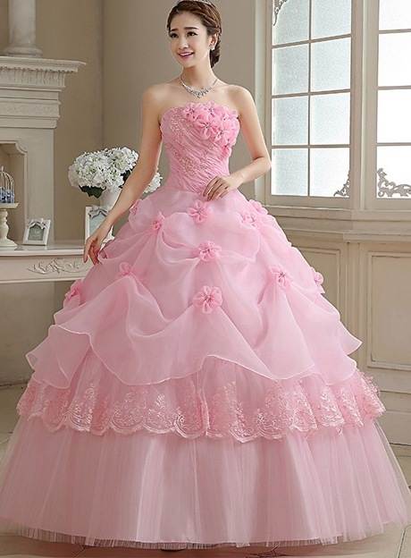 Strapless Ball Gown Handmade Flower Floor-Length Quinceanera Dress