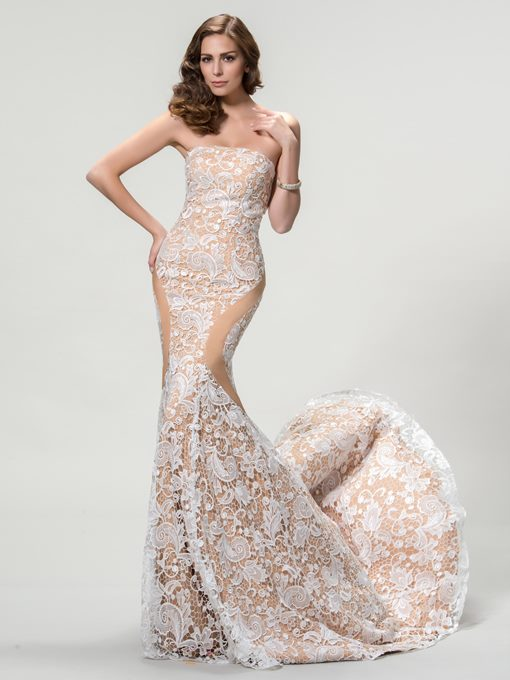 Strapless Mermaid Lace Court Train Evening Dress