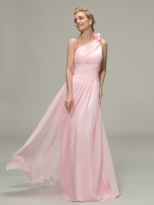 One Shoulder Floor Length Flower Pleated Bridesmaid Dress