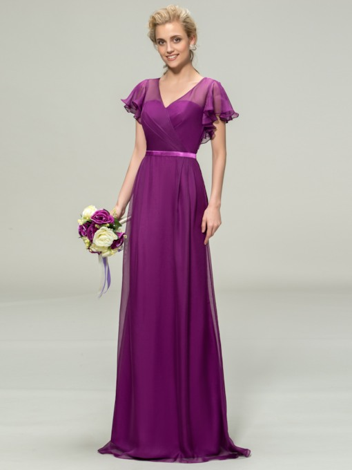 Elegant A-Line V-Neck Chiffon Long Bridesmaid Dress