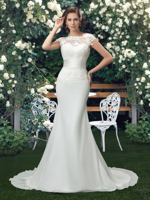 Bateau Lace Mermaid Court Train Wedding Dress