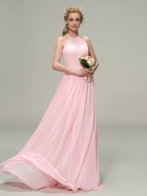 Pleats Halter Neck Long Bridesmaid Dress
