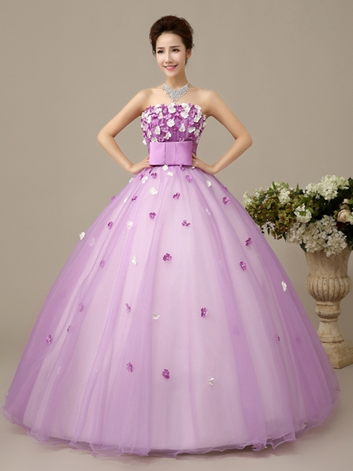 Strapless A-Line V-Neck Rhinestone Beadings Flowers Quinceanera Dress