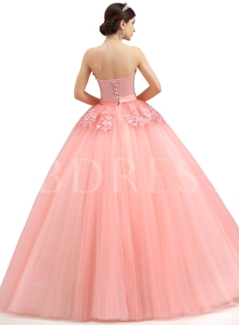 Strapless Pearls Appliques A-Line Lace-up Long Quanera Dress