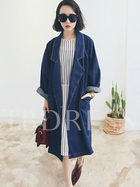 Lapel Loose Denim One Button Long Women's Trench Coat