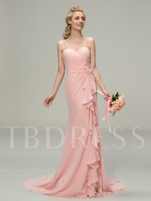 Sexy Spaghetti Straps Ruched Floor-Length Pink Bridesmaid Dress