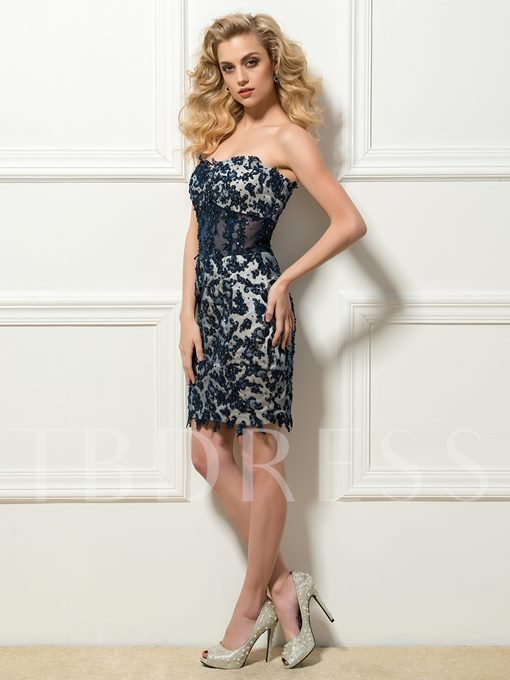 Sweetheart Sheath Appliques Short Cocktail Dress