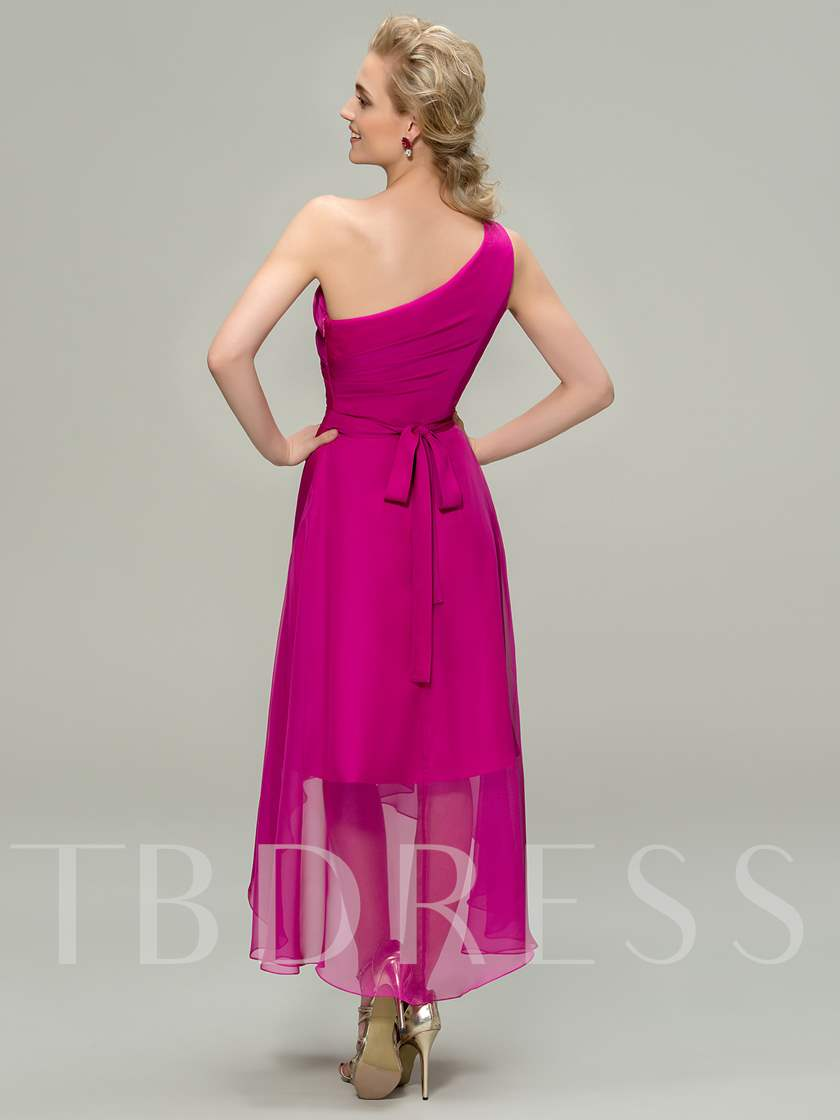 Asymmetry Sashes One Shoulder Bridesmaid Dress