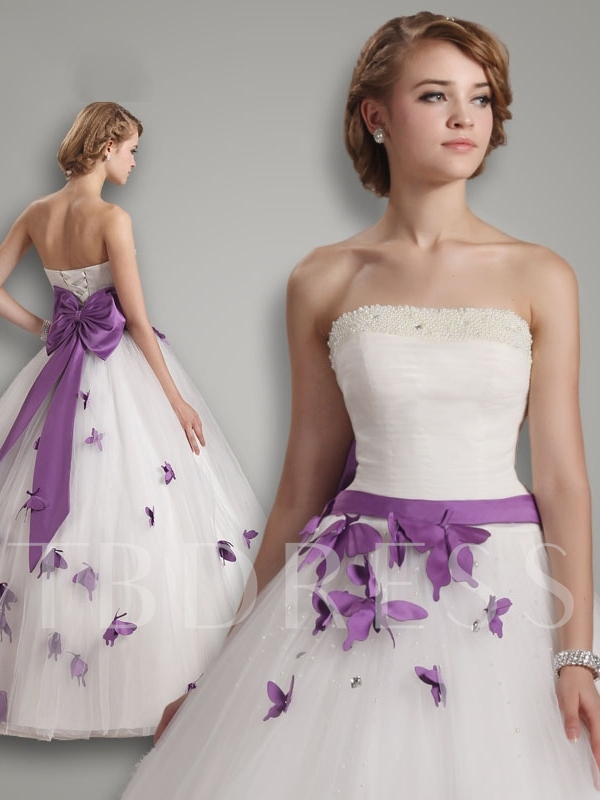 Strapless Butterflies Bowknot Ball Gown Wedding Dress